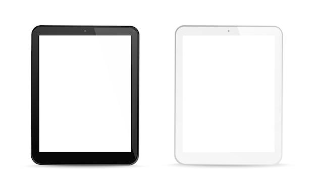 Tablet computador gadgets tela branca em branco exibem equipamento de maquete de dispositivo digital preto realista v ...