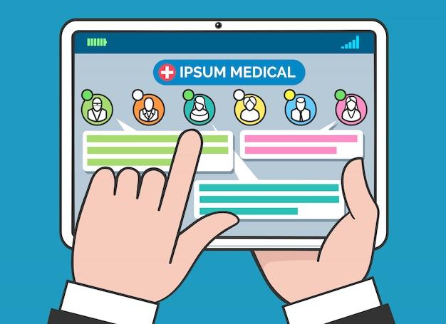 Tablet conceito de consultoria e tratamento médico