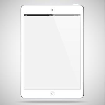 Tablet cor branca com tela de toque em branco isolada em cinza