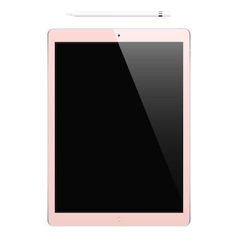 Tablet cor-de-rosa com tela de toque preta e lápis isolado no fundo branco. maquete de dispositivo realista e detalhado