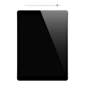 Tablet cor preta com tela de toque preta e lápis isolado no fundo branco.