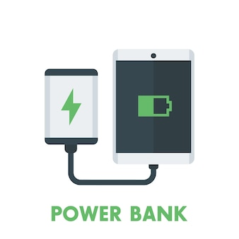 Tablet de carregamento do banco de potência, carregador portátil isolado no branco