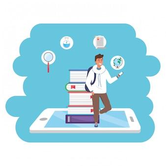 Tablet de estudante milenar de educação on-line