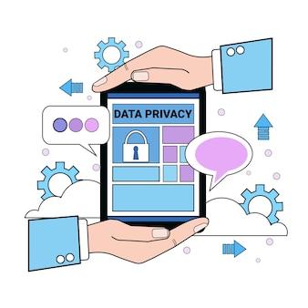 Tablet de proteção de nuvem de segurança de dados protege palmas