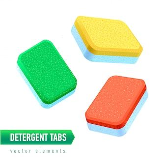 Tablet detergente para lava-louças de diferentes ângulos. guias de sabão colorido sobre fundo branco.