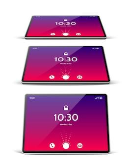 Tablet digital realista com tela brilhante. Vetor Premium