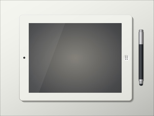 Tablet e caneta stylus isolado no fundo branco