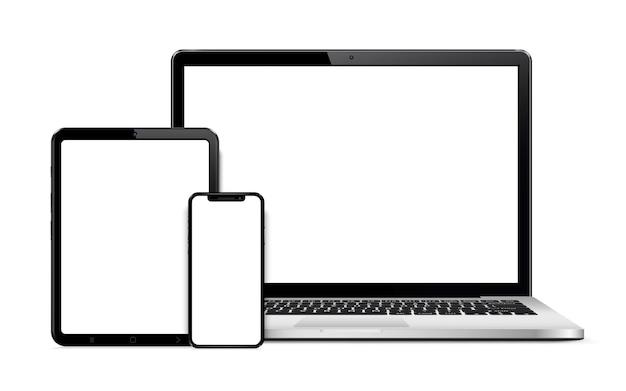 Tablet laptop e smartphone isolado no branco com tela vazia