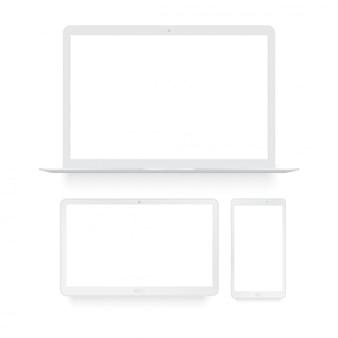 Tablet laptop e telefone inteligente branco mock up