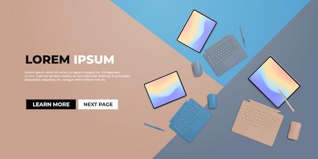 Tablet moderno com caneta, mouse, teclado e tela colorida