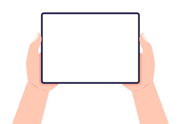 Tablet nas mãos. duas mãos segurando um tablet. .