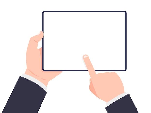 Tablet nas mãos. mão segurando o tablet e tela tocante.