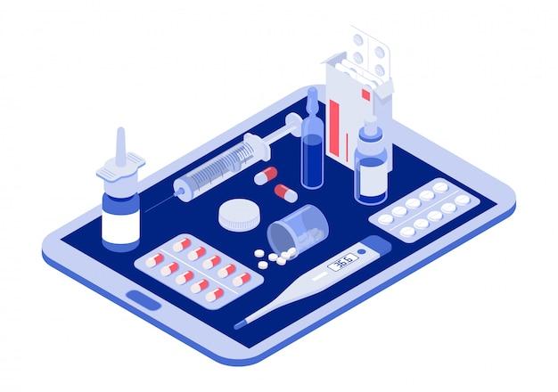 Tablet online com pílulas, cápsulas bolhas, garrafas de vidro, tubos de plástico