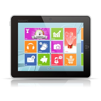 Tablet pc com área de trabalho do painel de aplicativos