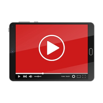 Tablet pc com o player de vídeo na tela.