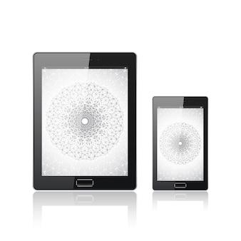 Tablet pc digital moderno com smartphone móvel isolado no branco