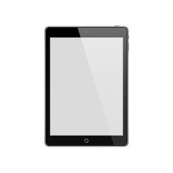 Tablet preto com tela em branco, isolada no branco