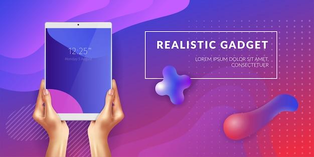 Tablet realista nas mãos femininas com elementos de ilustração fluido médio