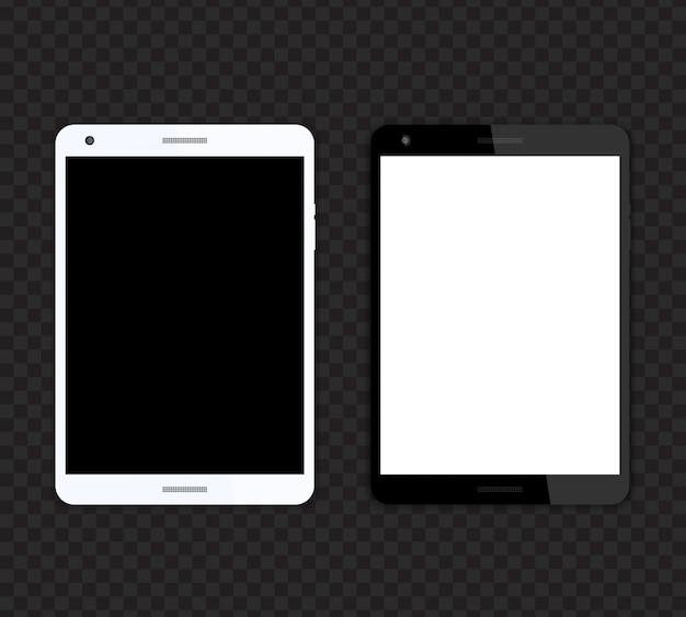 Tablet realista, preto e prata