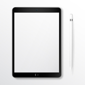 Tablet realistico mock up com lápis inteligente