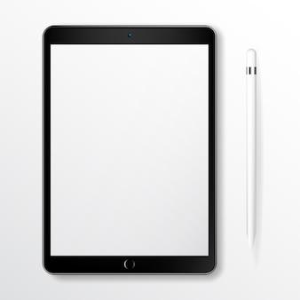 Tablet realistico mock up com lápis inteligente