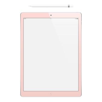 Tablet rosa com tela de toque em branco e maquete isolada a lápis de dispositivo realista