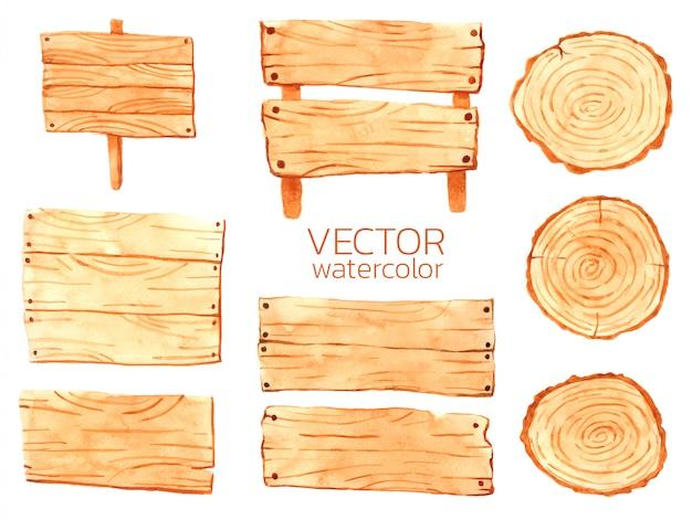 Tabletes de madeira em aquarela vector de madeira para design