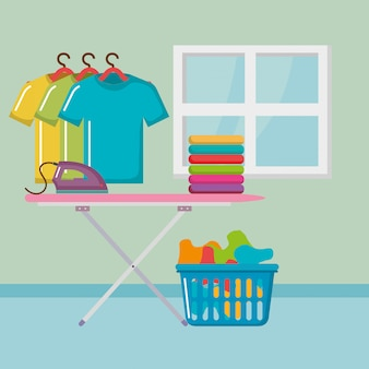Tábua de passar roupa com ícones de serviço de lavandaria