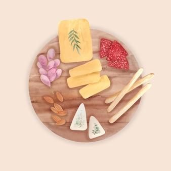 Tábua de queijo aquarela