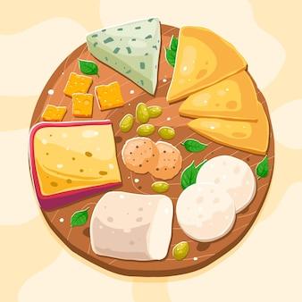 Tábua de queijo desenhada à mão ilustrada