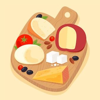 Tábua de queijo desenhada à mão