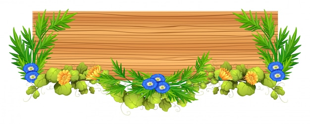 Tábua madeira, com, videira, e, flor