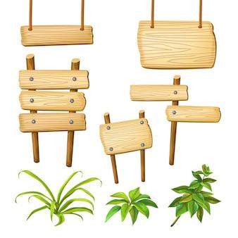 Tábuas de madeira com espaço para texto.