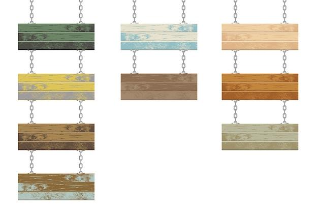 Tábuas de madeira com ilustração de corrente de aço