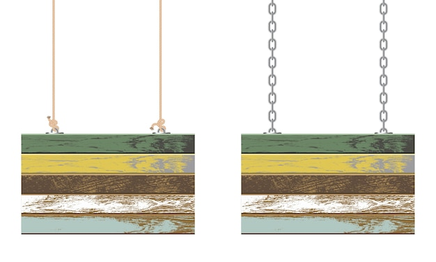Tábuas de madeira vintage penduradas em corrente e corda