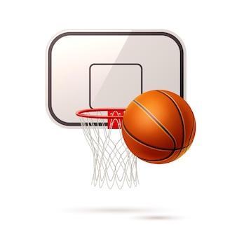 Tabuleiro de basquete realista com cesta