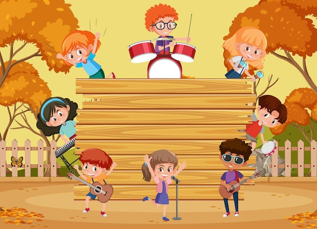 Tabuleiro de madeira vazio com crianças tocando diferentes instrumentos musicais