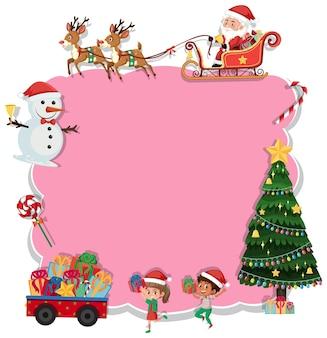 Tabuleiro de natal vazio com personagens de desenhos animados e objetos