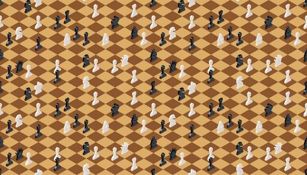 Tabuleiro de xadrez clássico com figuras de xadrez, sem costura padrão
