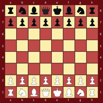 Tabuleiro de xadrez com figuras, estilo liso marrom