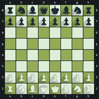 Tabuleiro de xadrez com figuras, estilo verde plano
