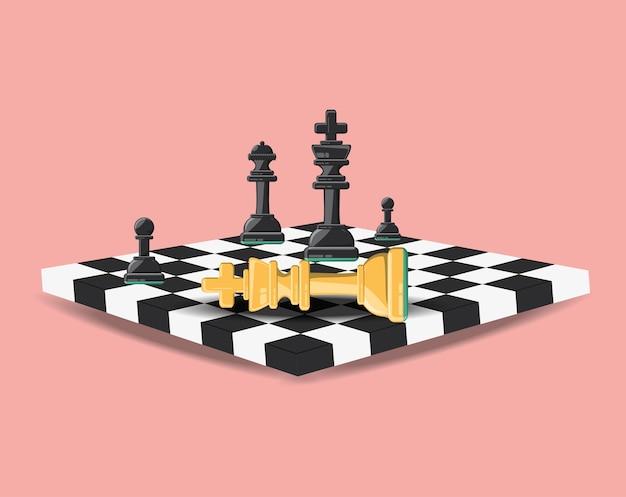Tabuleiro de xadrez com peças e cavaleiro para baixo