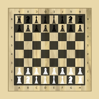 Tabuleiro de xadrez de madeira preto e branco com peças de xadrez