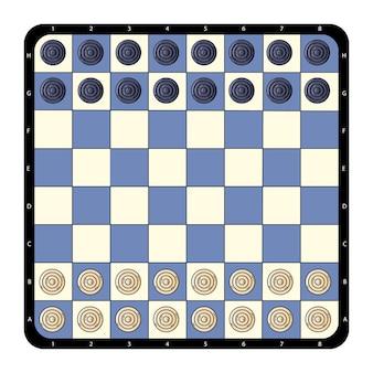 Tabuleiro de xadrez de verificadores plano vista superior