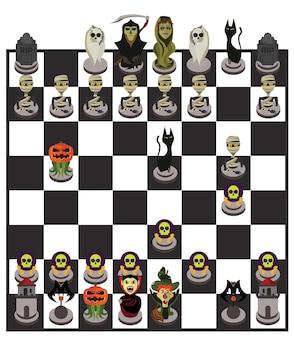 Tabuleiro de xadrez do dia das bruxas e conjunto de caracteres