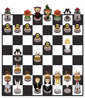 Tabuleiro de xadrez do dia das bruxas ou conjunto de caracteres
