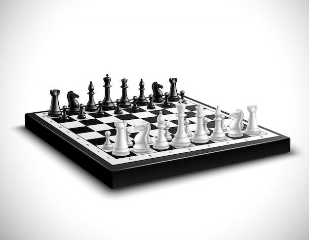 Tabuleiro de xadrez realista com conjunto de figuras em preto e branco 3d