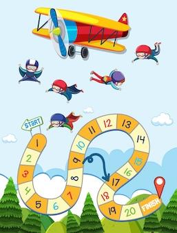 Tabuleiro para jogo de paraquedismo