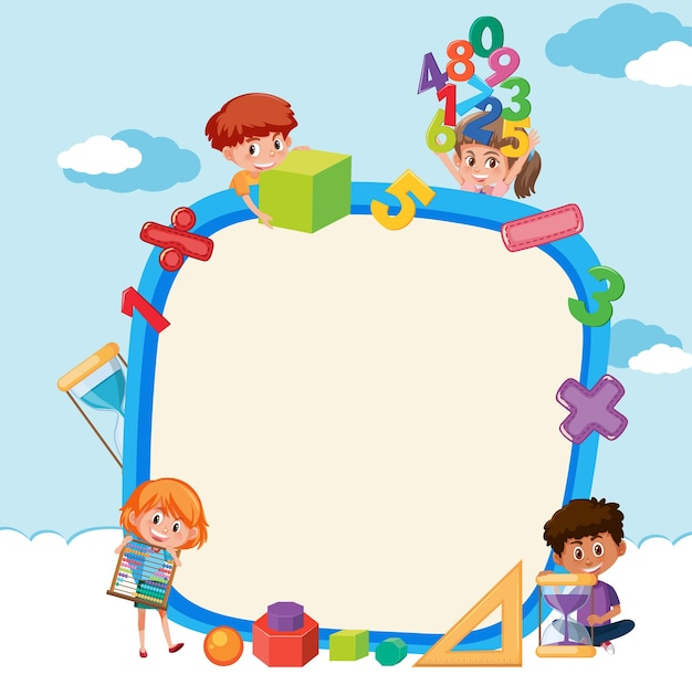 Tabuleiro vazio com crianças da escola e objetos matemáticos