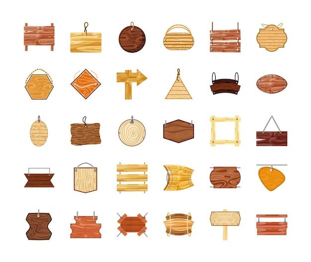 Tabuleiros de madeira rústica com letreiro luminoso